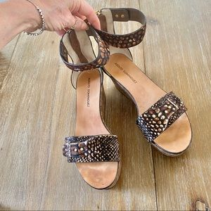 Adolfo Dominguez  hairy leather  wedges sandals 8